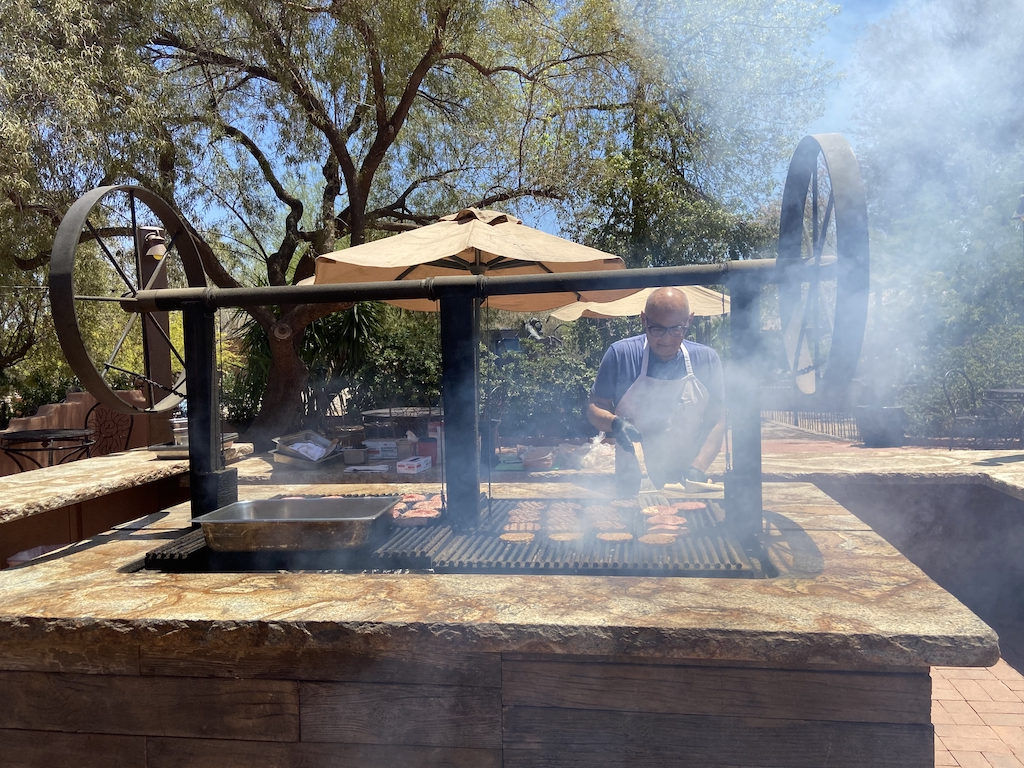 Burgers and hot dogs for lunch at White Stallion Ranch