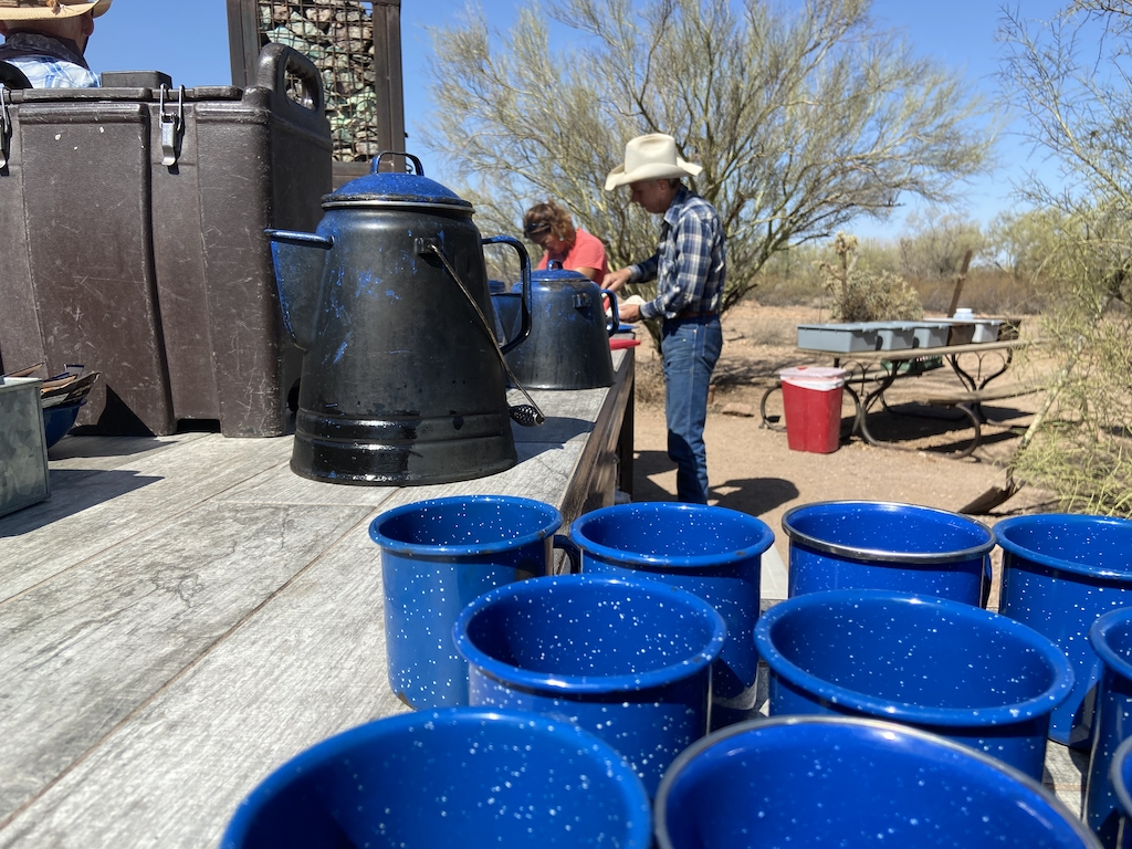 Russell True cooking up breakfast for the riders at The White Stallion Ranch