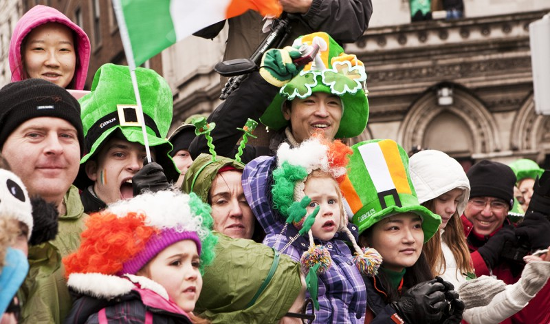 Families Celebrating St. Patricks Day in Dublin