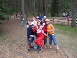 Our daughter Melanie (middle of group) in her sleepaway camp days