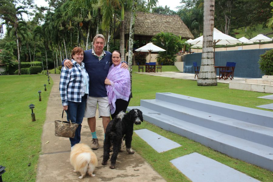 Lucy and Mick Fleming and daughter Byrony Fleming-Bradley at Chaa Creek Lodge in Belize
