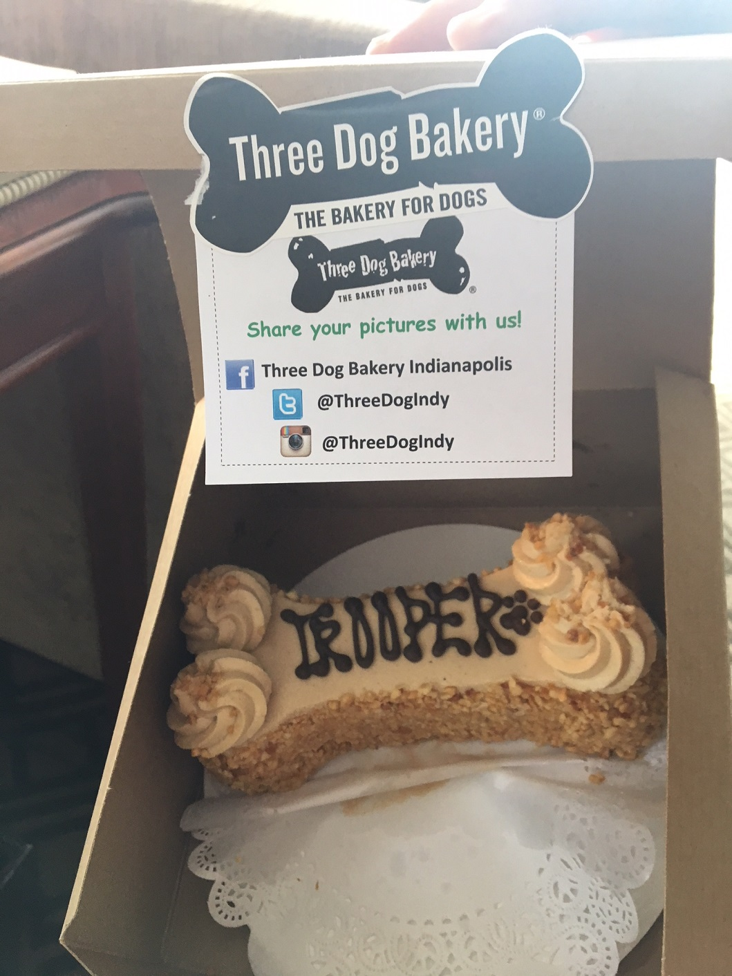 A Trooper doggie cake awaits the doggie at the Omni Severin Hotel in Indianapolis