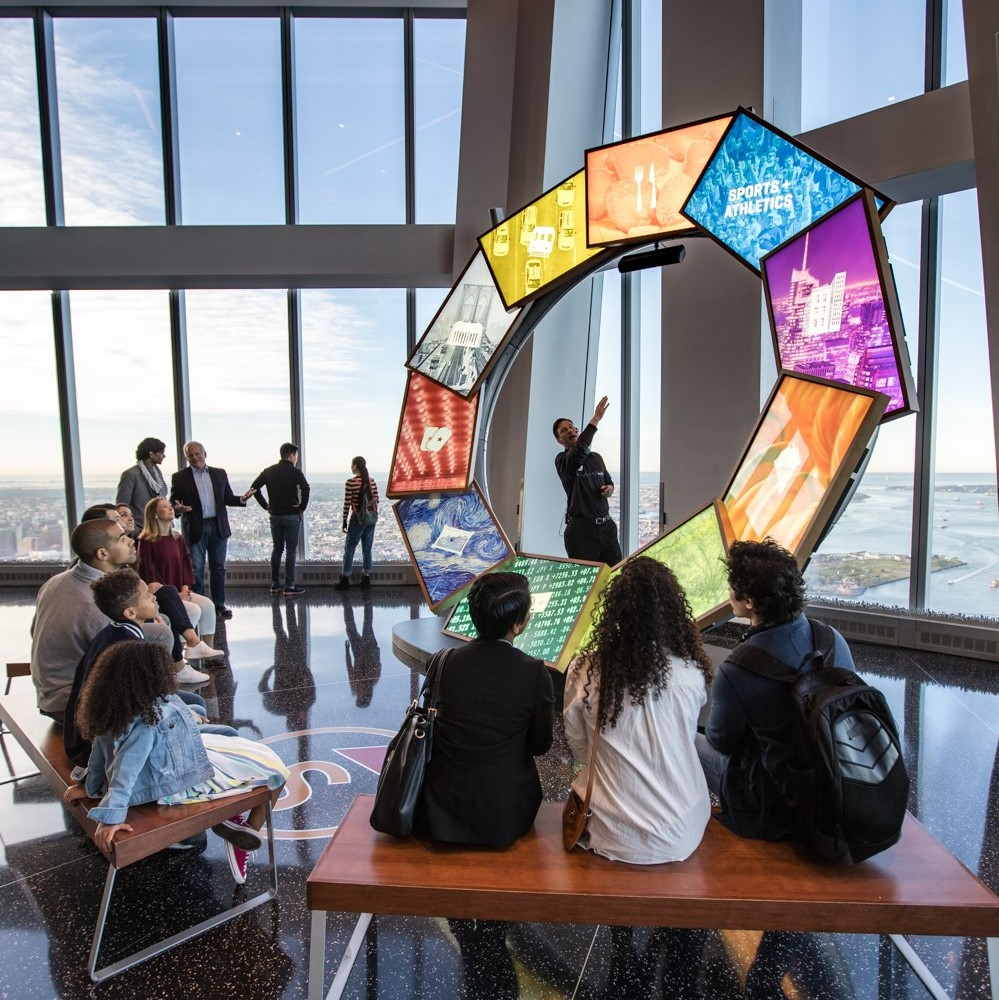 A guide at NYC's One World Observatory