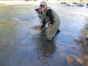 All smiles as the trout is netted then released