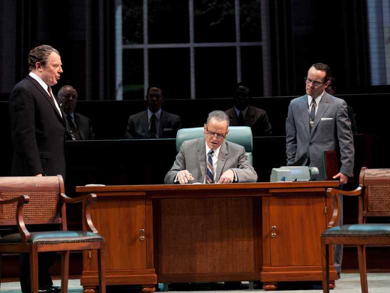 Bryan Cranston (center) as LBJ