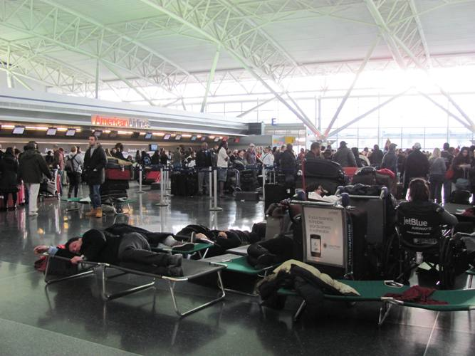 American Airlines Terminal at JFK Airport after 2010's Christmas blizzard