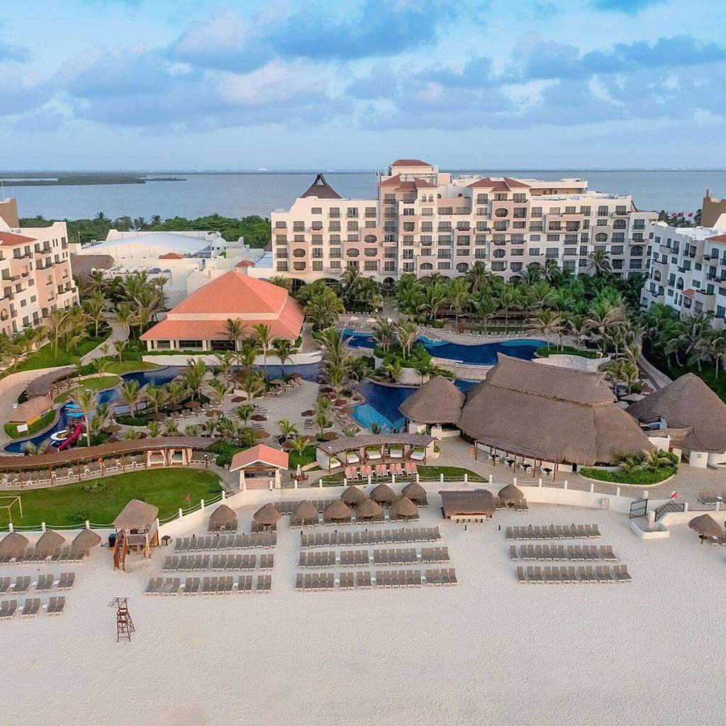 An Aerial view of the Fiesta Cancun Americana Resort in Cancun
