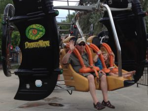 Andy and Hannah Sitzman ride the Dragons Wing at Elitich Gardens