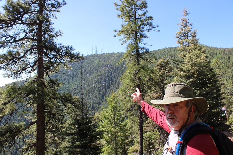 Andy points to the site of the NORAD facility near Cloud Camp
