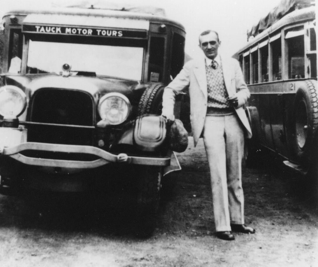 Arthur Tauck Sr. with motorcoach