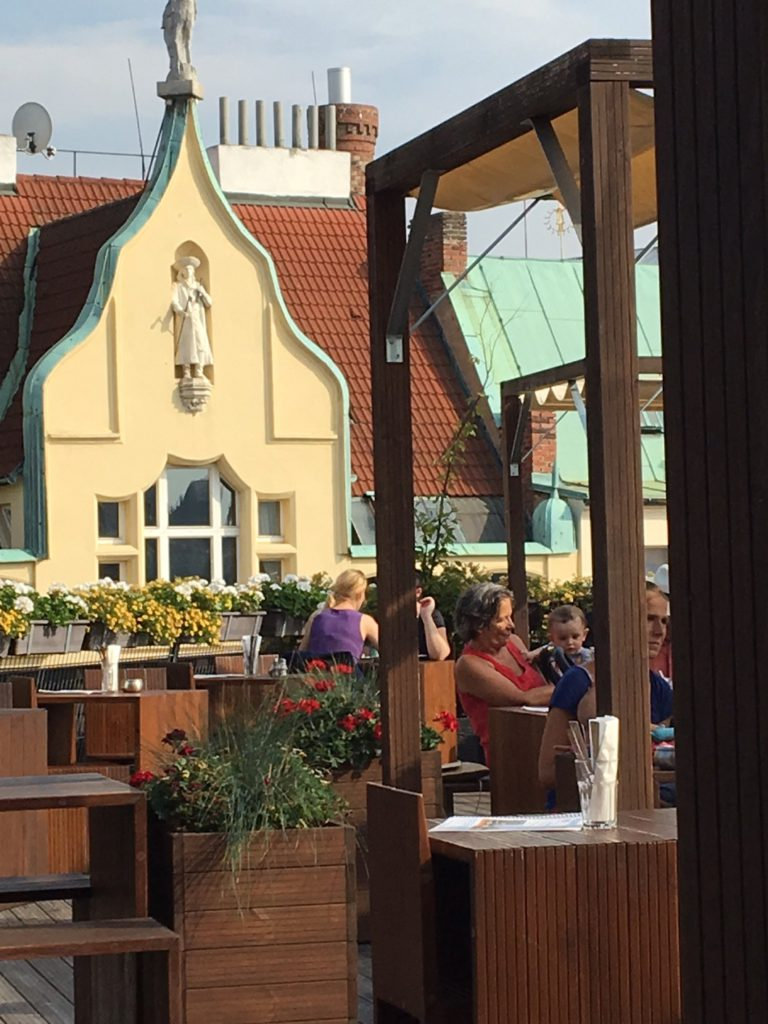 Beer garden with a view on the Eating Prague beer tour