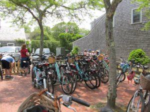 Bikes everywhere on Nantucket Island