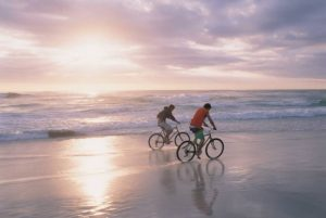 Biking on the beach on Cape Cod