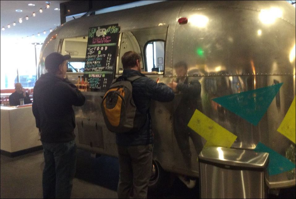 Breakfast burritos and egg sandwiches served from Airstream Trailer in lobby of Maven Hotel