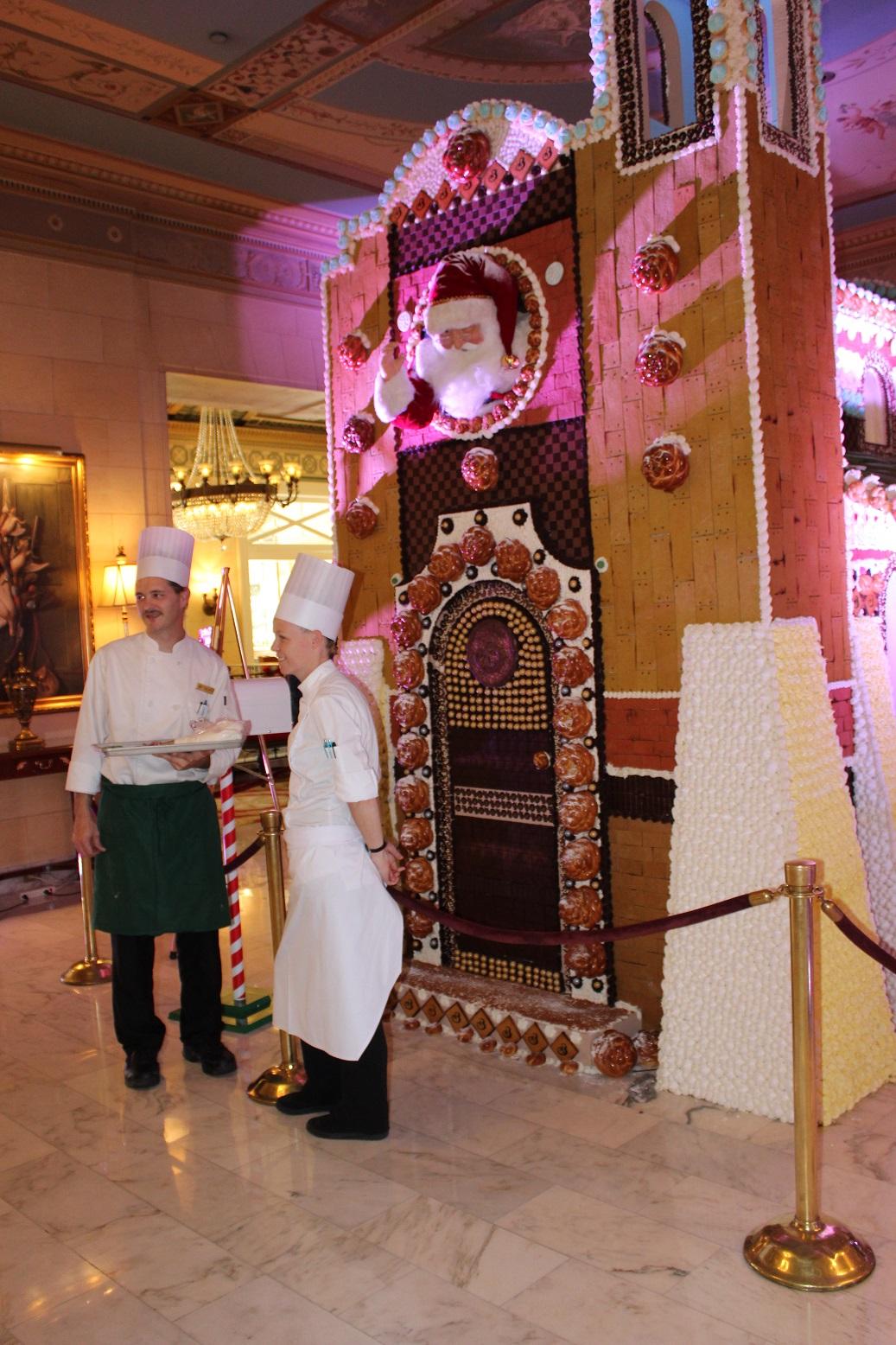 Broadmoor chefs Douglas Slape and Erin McIllwain at work on the gingerbread chapel