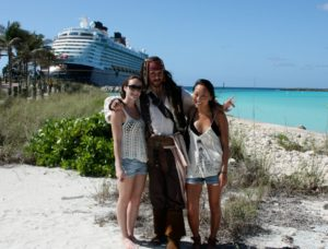 Cam and Eva with Jack Sparrow on Castaway Cay