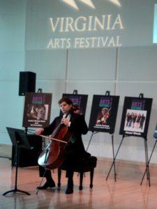Cello player at Virginia Arts Festival