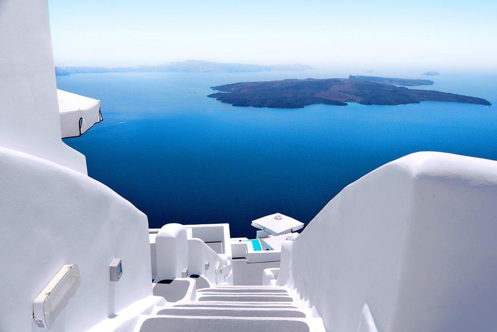 White wash staircases on Santorini Island, Greece