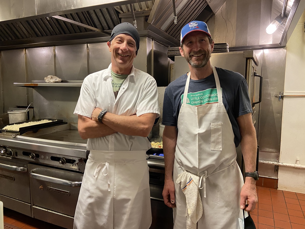 Chef Sam Wolfe (L) and Pastry Chef Jim Hilding at the Alta Lodge