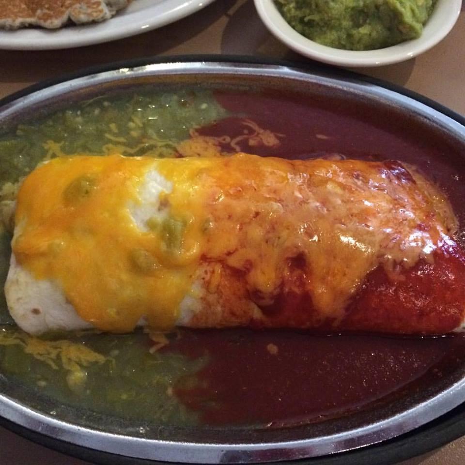 Breakfast Burrito at Tia Sophia's on the famous Plaza in Santa Fe