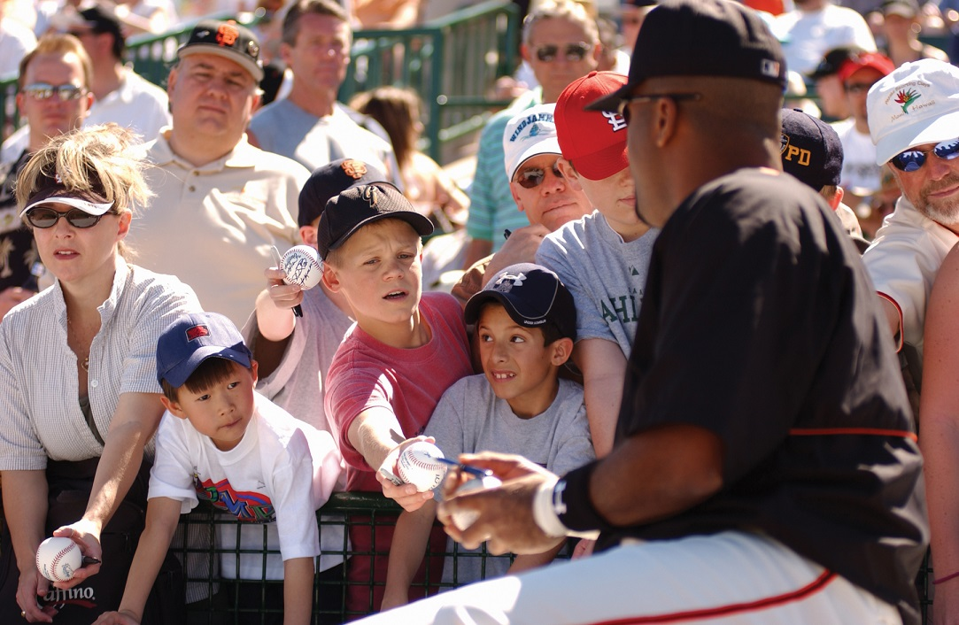 Collecting autographs during Spring Training at Scottsdale Stadium