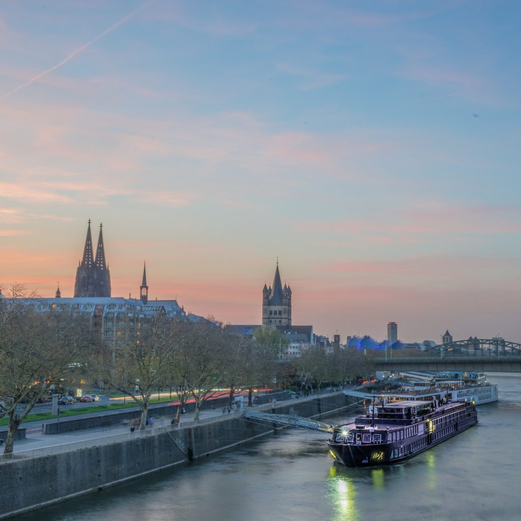 Cologne, Germany, at sunset