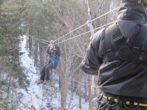 Enesi on the zipline at Bretton Woods Canopy Tour