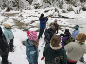 Exploring a partially frozen waterfall along the Crawford Trail