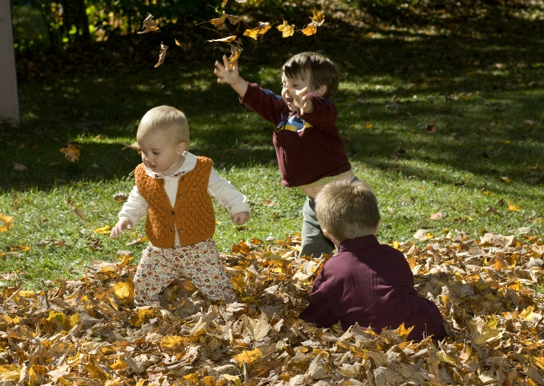 Kids in Vermont leaves
