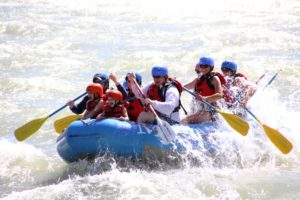 Family rafting on Yellowstone River
