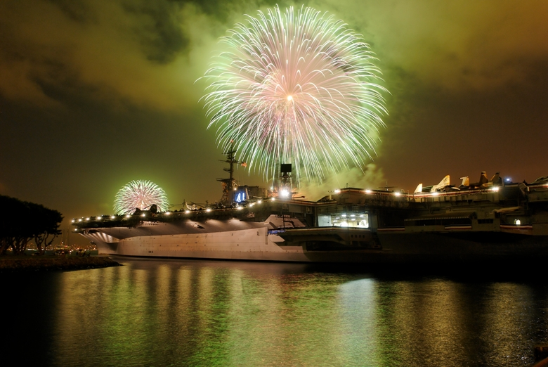Fireworks off the deck of the USS Midway
