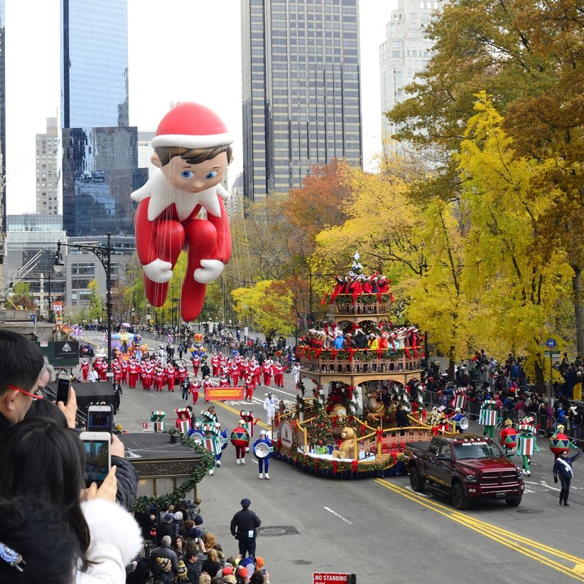 Floats, costumes, and more of the Thanksgiving Day parade along Central Park in New York City