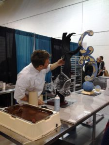 French Pastry School chef demonstrates the careful process of sculpting chocolate