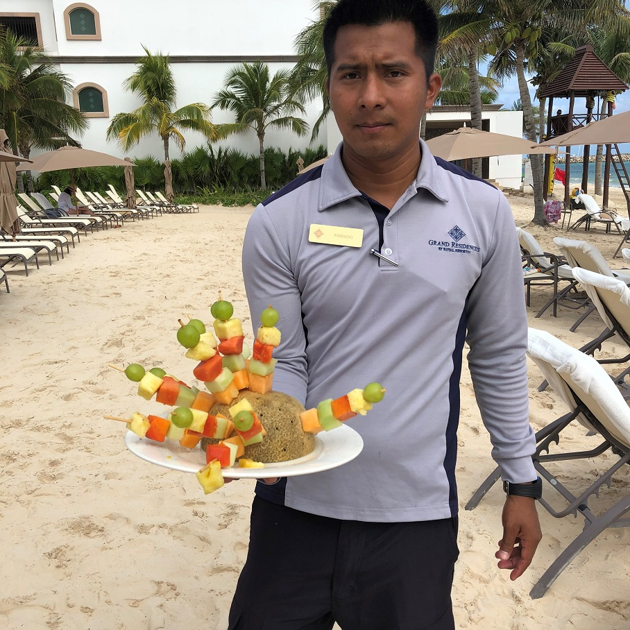Fruit kabobs served on the beach at Grand Residences Riviera Cancun