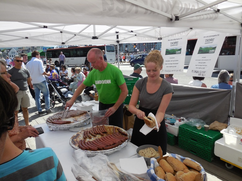 Goat sausage at the market in Bergen Norway
