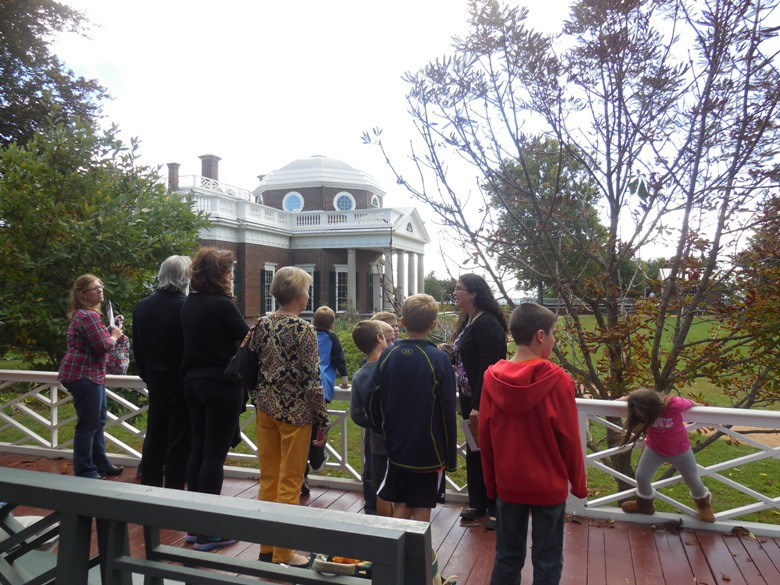 Guide Aurelia Crawford leads a family tour of Monticello
