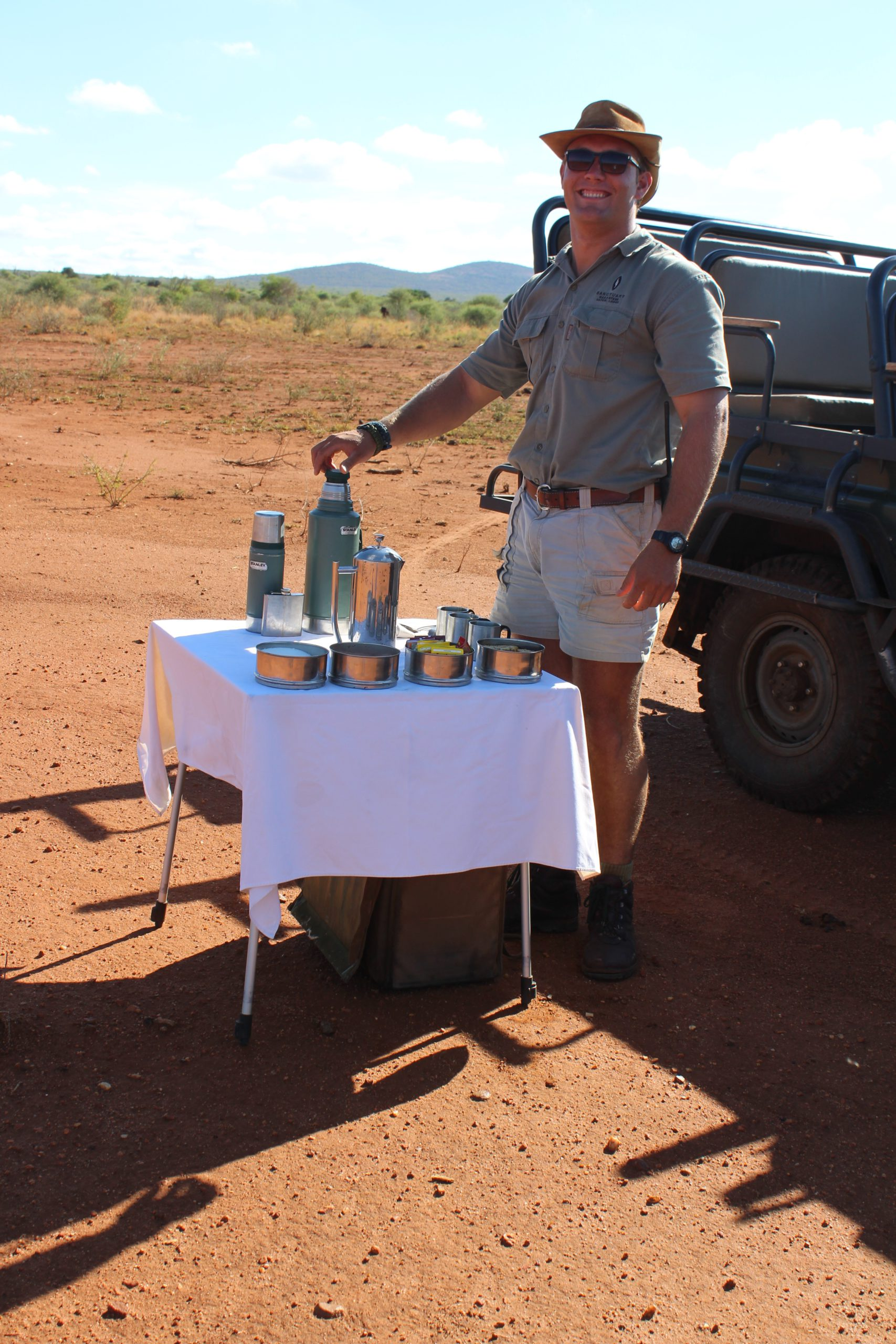 Morning coffee service in the bush at Madikwe Game Reserve