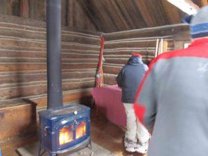 Inside Josie's hut at the Breckenridge Nordic Center