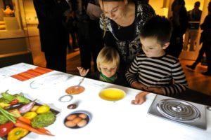Interactive stovetop at AMNH food exhibit
