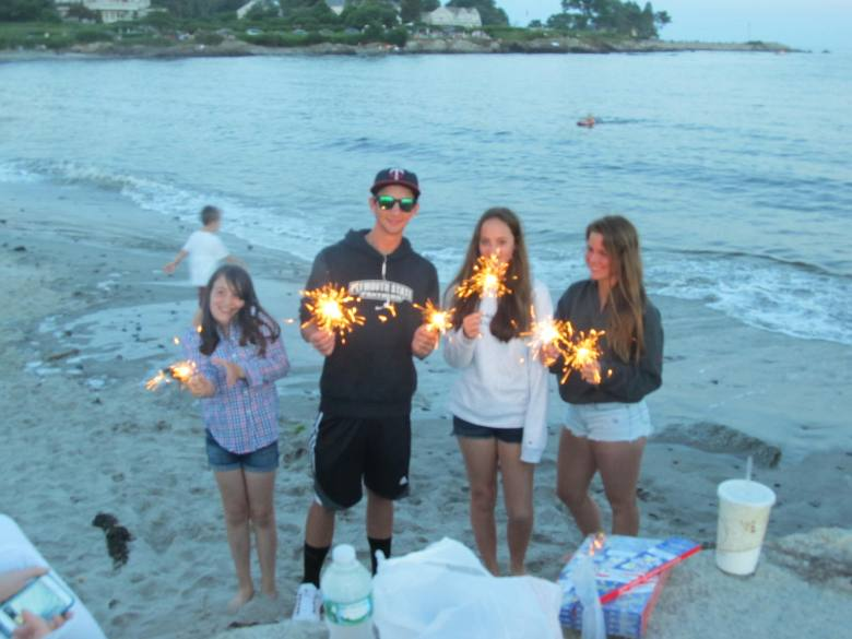 Kids revving up for the fireworks on Colony Beach in Kennebunkport ME