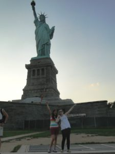 Laurel and Katie Grace at the Statue of Liberty