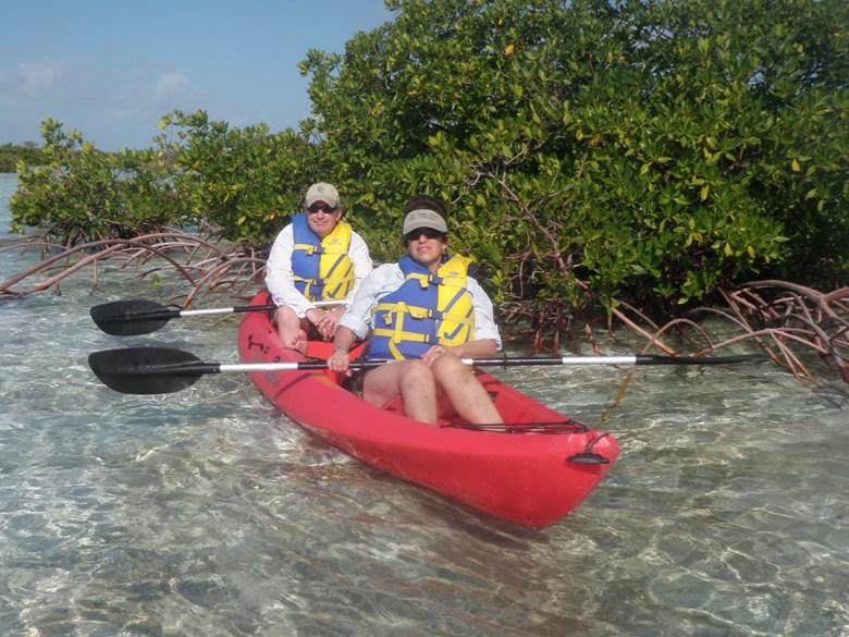 Kayaking through the mangroves on Great Exuma in the Bahamas