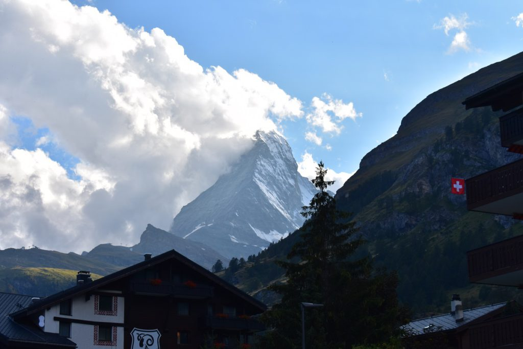 Matterhorn in the gloaming - seen from our room at the Hotel La Ginabelle in Zermatt