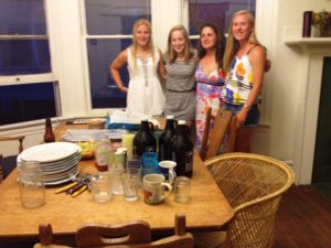 Mel (third from left) and her roomies in latest off-campus digs