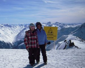 Melanie and Eileen atop the Alps
