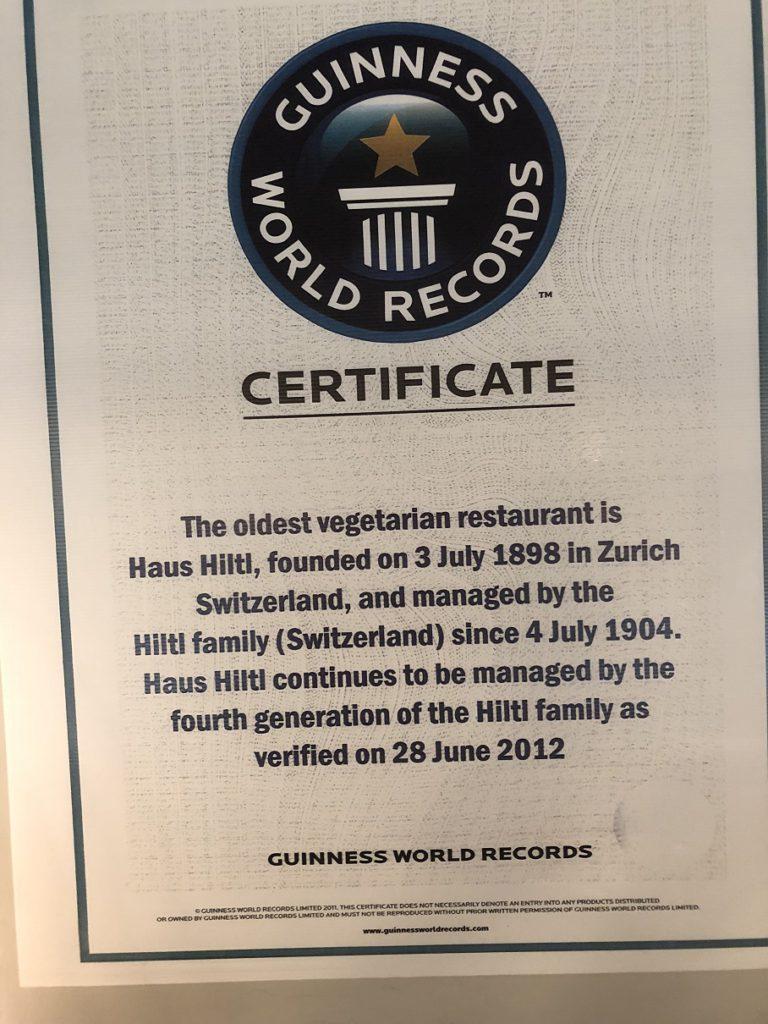 Oldest vegetarian restaurant - certified