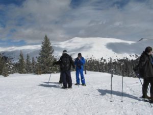 On our snowshoe hike high up on Keystone Mountain
