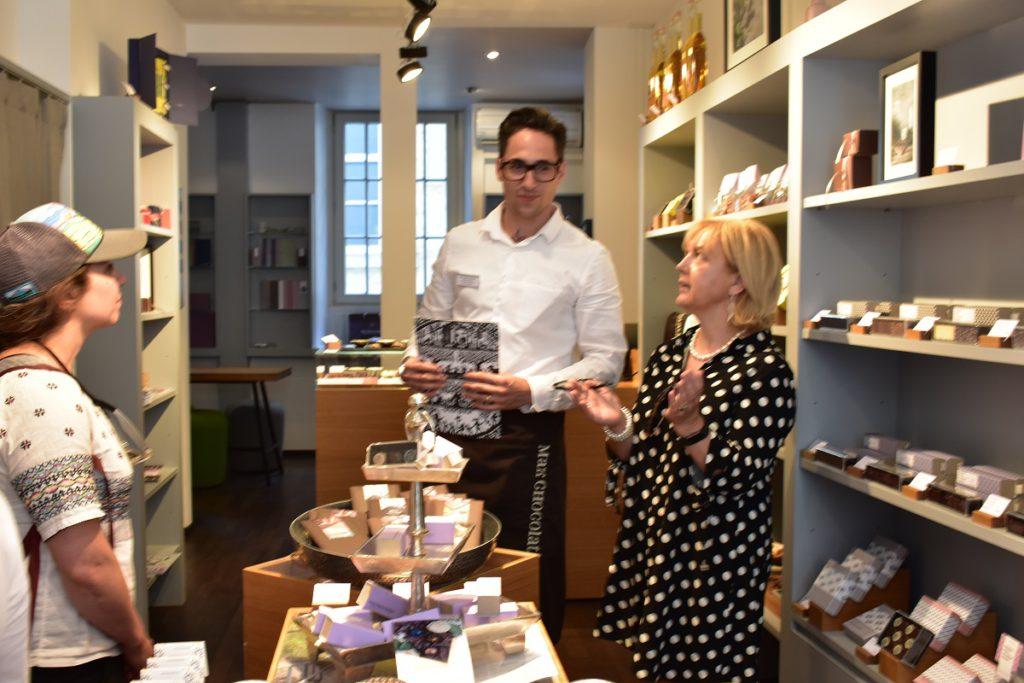 Sweet Zurich tour guide Christina Fryer (r) with Patrik Konig at Max Chocolatier