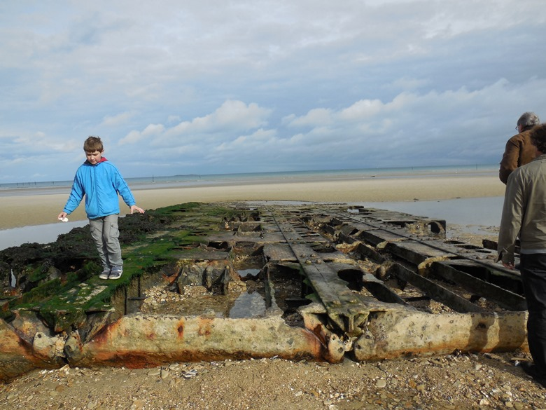 One of the few remaining parts of the artificial port at Utah Beach