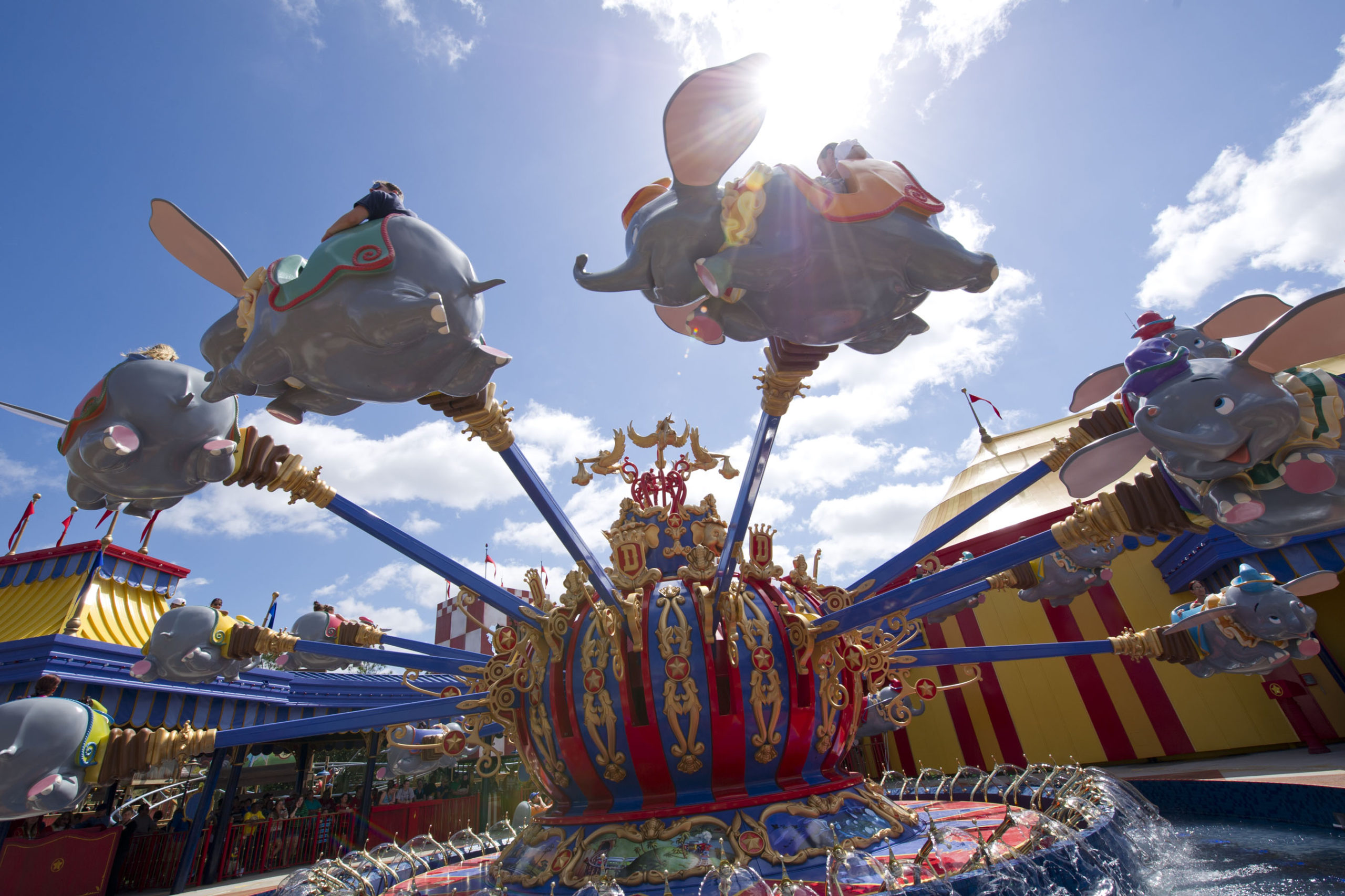 One of the two new Dumbo rides at Magic Kingdom